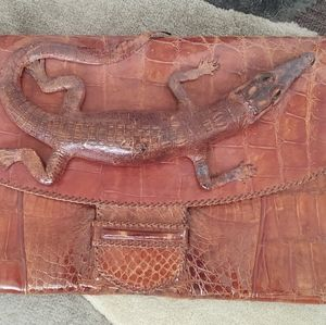 Antique Brown Genuine Alligator Clutch Bag.